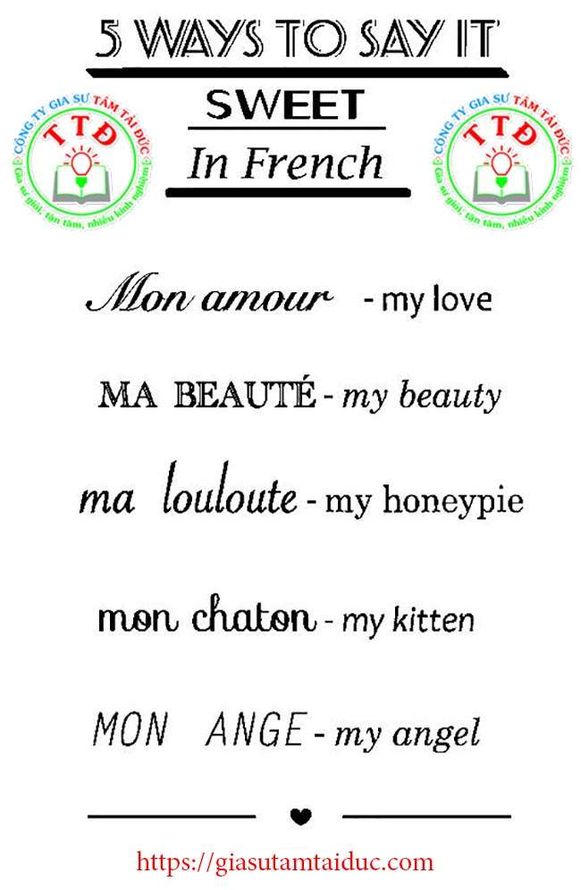 ways to say it sweet in french