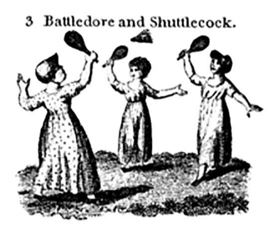Battledore và shuttlecock chơi cầu lông năm 1804