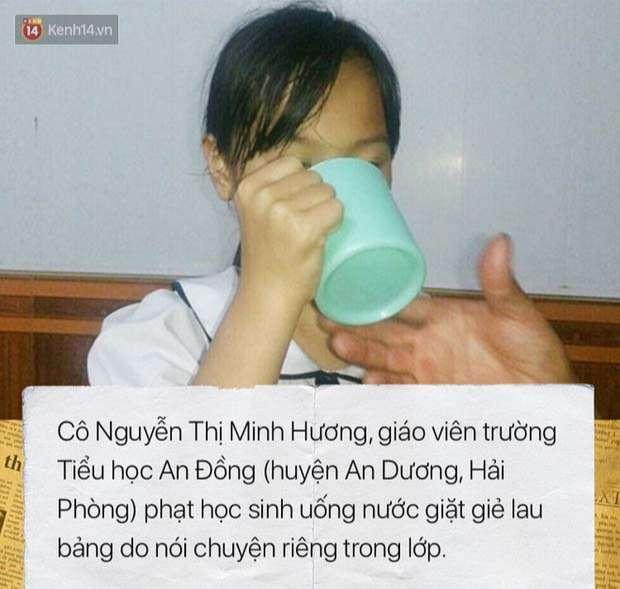 Cô giáo Hải Phòng phạt học sinh lớp 3 uống nước giặt giẻ lau bảng vì nói chuyện riêng trong lớp