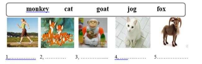 II, Viết các từ phù hợp với mỗi bức tranh