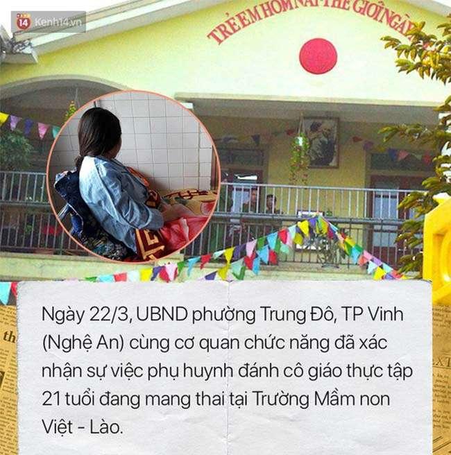 Phụ huynh có hành vi đánh cô giáo thực tập đang mang thai tại Trường Mầm non Việt – Lào