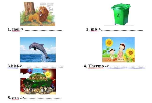 V, Sắp xếp lại các chữ cái để tạo được từ phù hợp với mỗi tranh sau