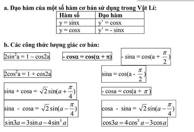 Đạo hàm của một số hàm cơ bản sử dụng trong Vật Lí