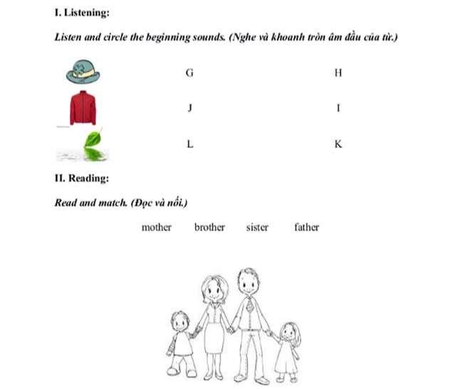 Đề thi học kỳ 1 môn Tiếng Anh lớp 1