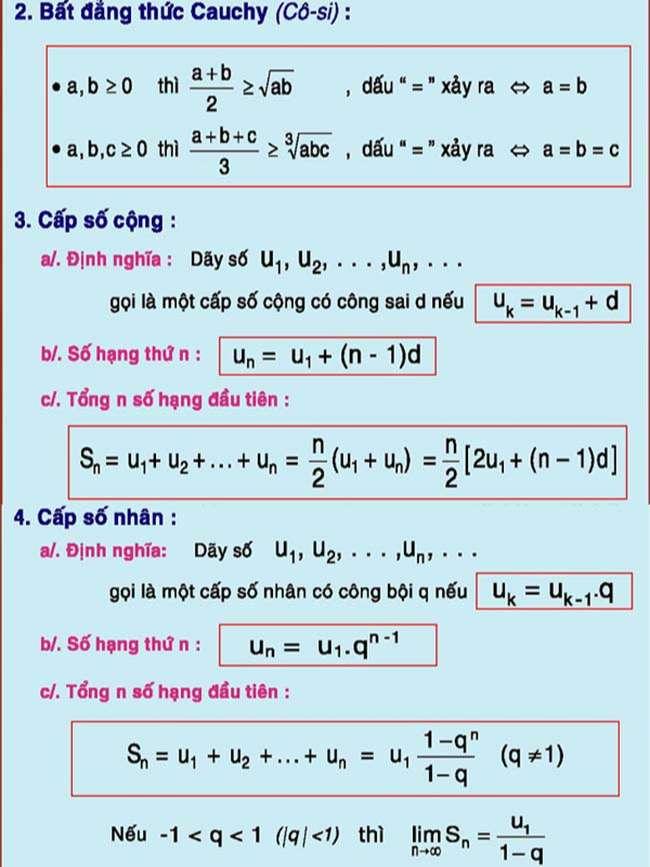Bất đẳng thức Cauchy,Cấp số cộng, Cấp số nhân