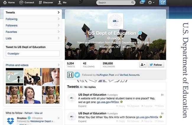 Bộ Giáo dục Hoa Kỳ cũng tận dụng Twitter như 1 kênh truyền thông chính thống cho mình