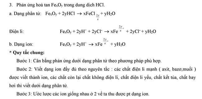 Cách biểu diễn phương trình dưới dạng phân tử và ion tiếp theo