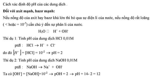 Cách xác định độ pH của dung dịch