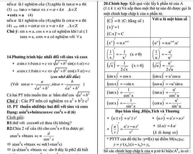 Công Thức Toán Cần Nhớ Lớp 11 trang 2