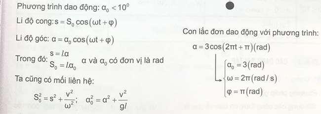 Công thức phương trình dao động