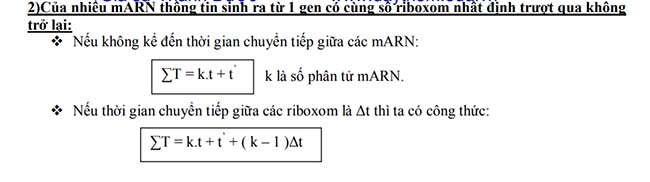 Của nhiều mARN thông tin sinh ra từ 1 gen có cùng số riboxom nhất định trượt qua không trở lại