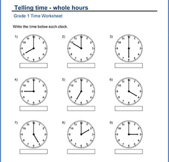 Grade 1 Telling time Worksheet on whole hours 1st grade math
