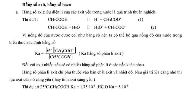 Hằng số axit