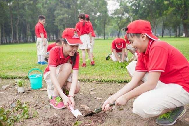 Học sinh tham gia hoạt động trồng cây sau giờ học