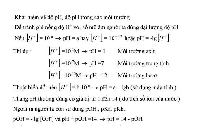 Khái niệm về độ pH, độ pH trong các môi trường