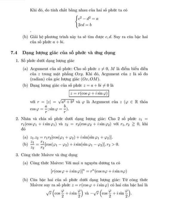 Lý thuyết và công thức số phức