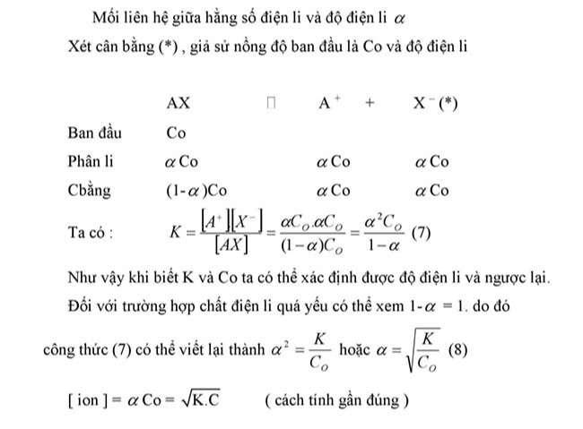 Mối liên hệ giữa hằng số điện li và độ điện li