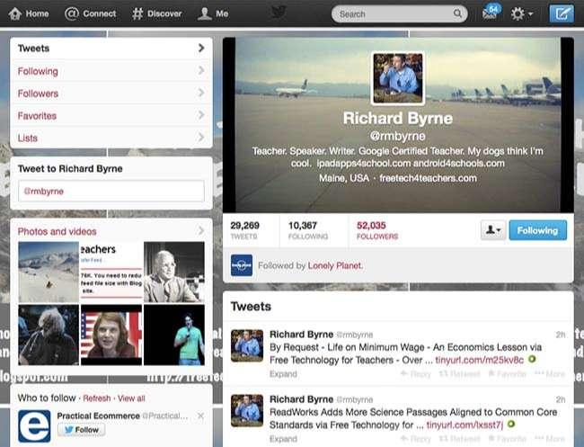 Một giáo viên tại Hoa Kỳ sử dụng tài khoản Twitter (@rmbyrne) để tương tác và dạy học
