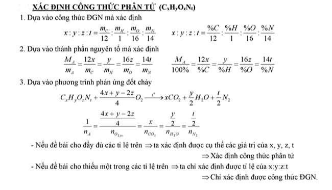 Xác định công thức phân tử