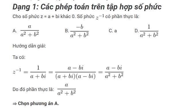 Các phép toán trên tập hợp số phức
