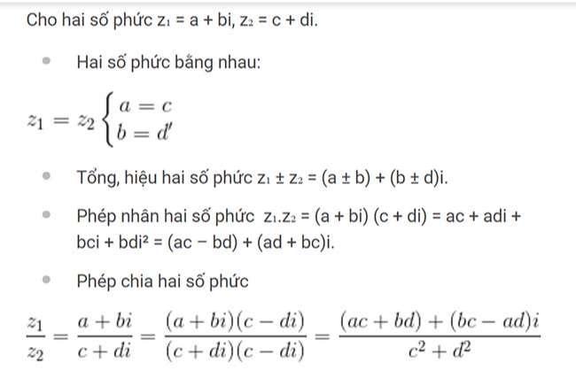 Các phép toán trên tập số phức