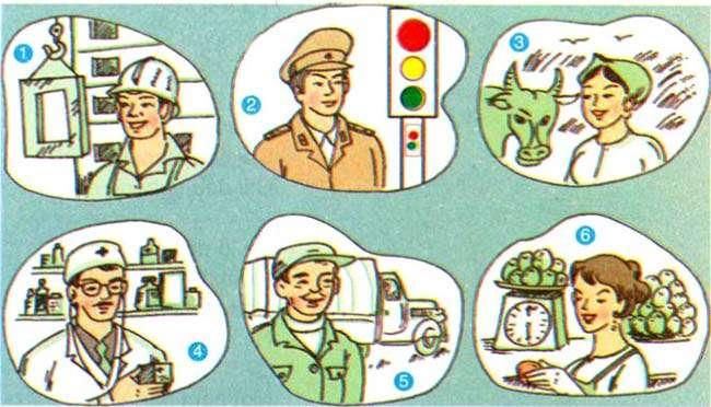 Em hãy chú ý tới trang phục, cảnh vật xung quanh mỗi người trong bức tranh để xác định nghề nghiệp của họ