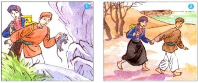 Em hãy quan sát hoạt động của hai vợ chồng trong bức tranh, kết hợp nội dung đã đọc và kể lại đoạn 1, 2