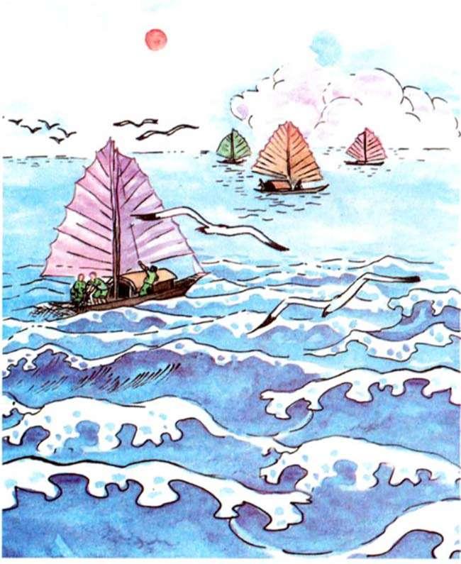 Em quan sát kĩ bức tranh và tả lại cảnh biển theo gợi ý