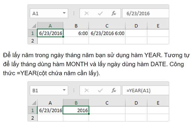Hàm YEAR, MONTH, DAY