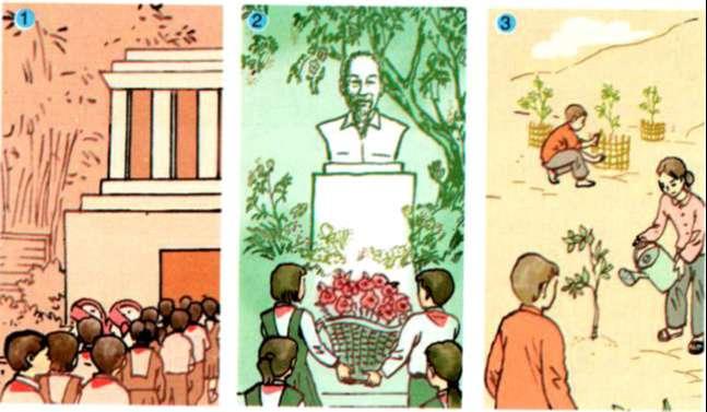 Mỗi tranh dưới đây kể một hoạt động của thiếu nhi kỉ niệm ngày sinh của Bác Hồ