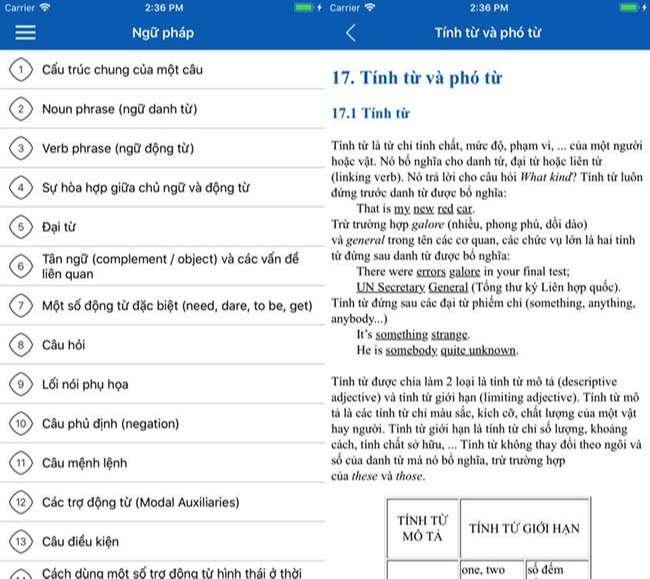 Phần mềm học tiếng Anh offline miễn phí English Grammar TFlat