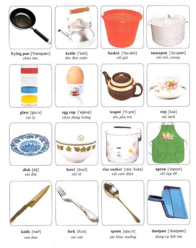Từ vựng hình ảnh các vật dụng trong nhà bếp
