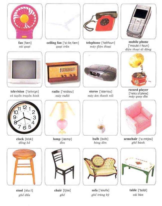Từ vựng về một số đồ vật thường dùng trong nhà