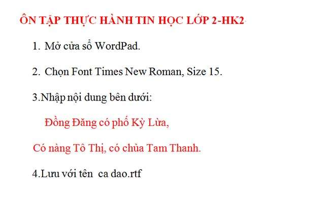 NỘI DUNG ÔN TẬP TIN HỌC LỚP 2-HK2 2
