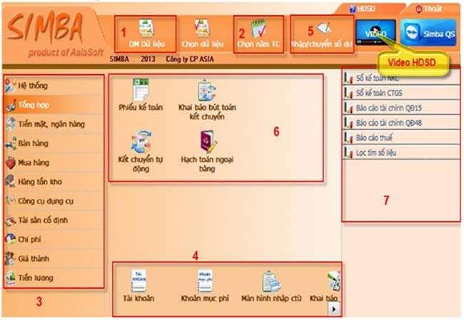 Giao diện làm việc của phần mềm kế toán Simba
