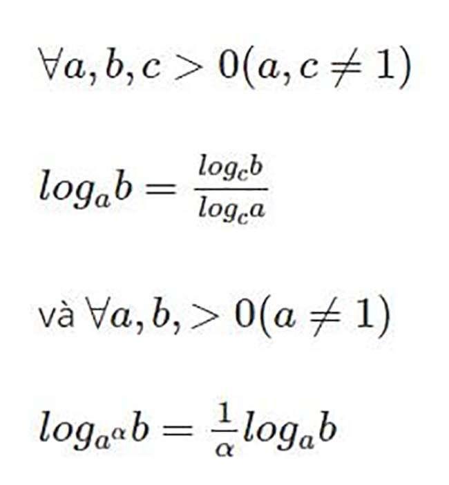 Đổi cơ số cho phép chuyển các phép toán lấy logarit