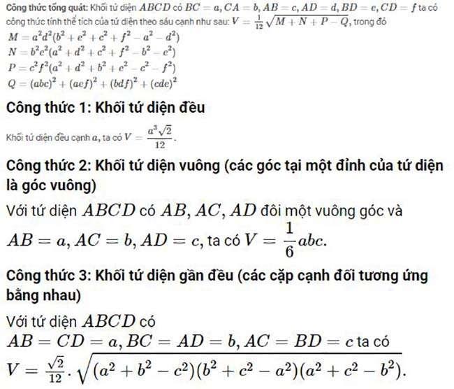 Các bài toán mẫu về cách tính thể tích