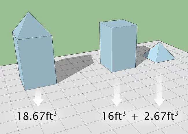 Cộng thể tích từng phần để tính thể tích của các hình phức tạp
