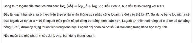 Logarit của một tích