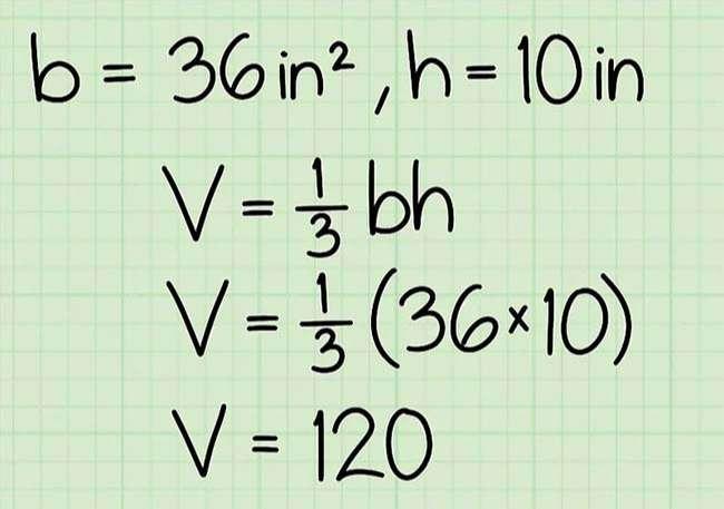 Nhân diện tích của mặt đáy với chiều cao, sau đó chia kết quả thu được cho 3